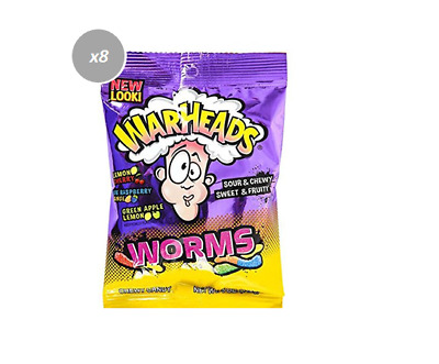 908189 8 x 142g BAGS WARHEADS SOUR WORMS FRUIT FLAVOR SOUR CHEWY SWEET GUMMIES