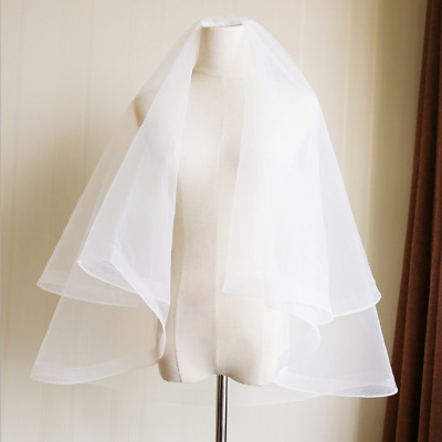 Ivory White Wedding Veils 2 Layer Bridal Accessory With Comb Bride Veil Horsehem