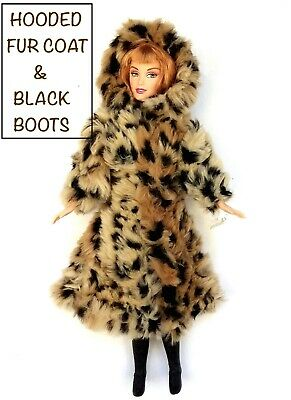 New Barbie doll clothes outfit 2 piece set fur coat boots jacket shoes clothing