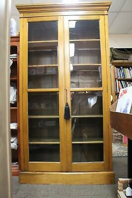 A Tall Antique English Country Cottage Glazed Bookcase Display Cabinet Pantry