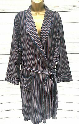 Vintage St Michael M&S Mens Dressing Gown Smoking Jacket Blue Red Stripe - L