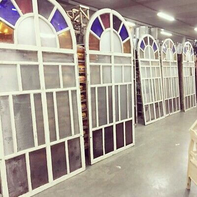 Imported Antique huge stained  glass arched windows x 6