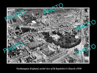OLD LARGE HISTORIC PHOTO OF NORTHAMPTON ENGLAND, THE ST SEPULCHRE CHURCH c1930