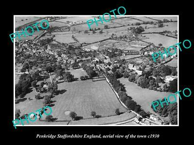 OLD LARGE HISTORIC PHOTO OF PENKRIDGE ENGLAND, AERIAL VIEW OF THE TOWN c1930 2