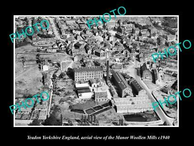 OLD LARGE HISTORIC PHOTO OF YEADON YORKSHIRE ENGLAND, THE MANOR MILL c1940