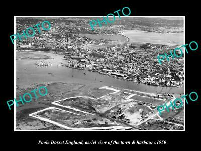 OLD LARGE HISTORIC PHOTO OF POOLE DORSET ENGLAND, THE TOWN & HARBOUR c1950 1