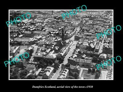 OLD LARGE HISTORIC PHOTO OF DUMFRIES SCOTLAND, AERIAL VIEW OF THE TOWN c1930 2