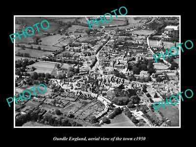 OLD LARGE HISTORIC PHOTO OF OUNDLE ENGLAND, AERIAL VIEW OF THE TOWN c1950 3