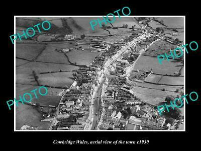 OLD LARGE HISTORIC PHOTO OF COWBRIDGE WALES, AERIAL VIEW OF THE TOWN c1930 1