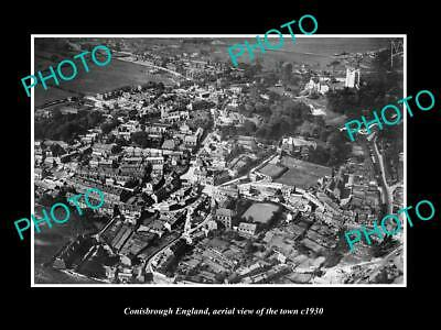 OLD LARGE HISTORIC PHOTO OF CONISBROUGH ENGLAND, AERIAL VIEW OF THE TOWN c1930 1