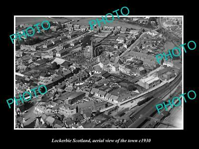 OLD LARGE HISTORIC PHOTO OF LOCKERBIE SCOTLAND, AERIAL VIEW OF THE TOWN c1930 1