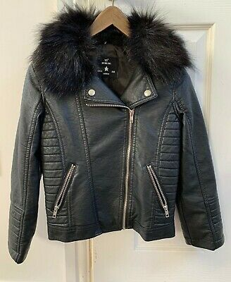 Primark YD Biker Jacket, Girls, PVC, with detachable fur collar, Age 8-9 years