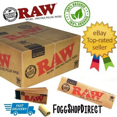 RAW CLASSIC Rolling Papers King Size Slim with Roach Filter Tips Uk Seller