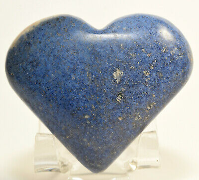 "2.3"" Blue Dumortierite Heart Natural Crystal Polished Quartz Mineral Stone Peru"