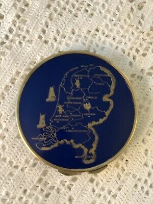 Vintage Brass & Blue Enamel Powder Compact Etched  W/Map Of Holland