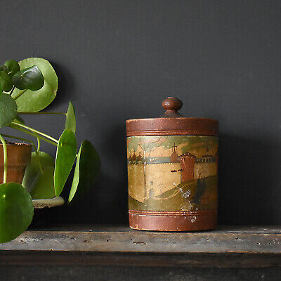 Naive Hand Painted Turned Wooden Box - Antique Folk Art Lidded Pot, 19th Century