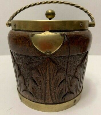 Antique English CARVED OAK BISCUIT BARREL Lined HUMIDOR HC&Co SilverPlate LEAVES