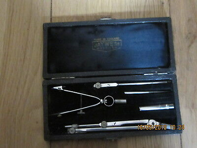 Vintage Jay Wess Series Made In England Drafting Drawing Compass Instrument Set