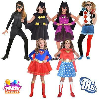 Girls Batgirl Supergirl Catwoman Wonder Woman Superhero Fancy Dress Costume