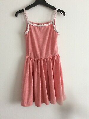 Girl's NEXT Red Marl Strappy Daisy Trimmed Dress Age 5 years