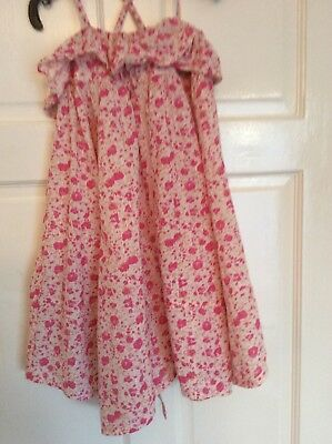 Girl's Lovely NEXT Pink Small Floral Strappy Ruffled Top Dress Age 4 years