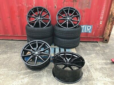 """18"""" BMW 1 2 3 4 SERIES ALLOY WHEELS AND TYRES black m sport"""