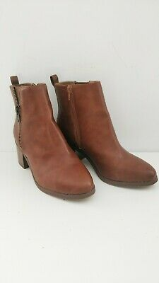 Dorothy Perkins Brown Faux Leather Block Heel Ankle Boots Size 5 Wide Fit