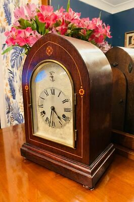 Edwardian Mahaogany Arch Mantle 8 Day Westminster Chime clock by HAC