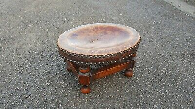 Beautiful Vintage Oak Footstool With Real Leather Top £9 Uk Postage