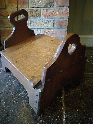Antique Oak Carved Hand Made Church Prayer Kneeling Stool Rest Perch Gothic...