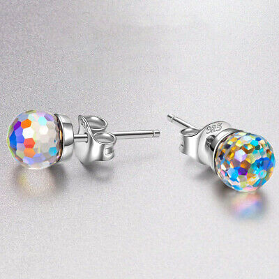 PAIR Aurora Borealis or Clear Gem Rimmed Rose Gold Tunnels Plugs Earlets Gauges