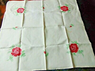 VTG 100% Linen Hand Embroidered Floral Tablecloth ROSES