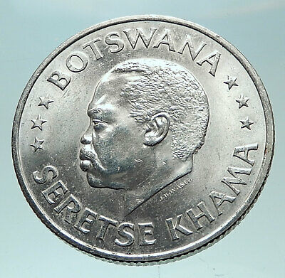 1966 BOTSWANA President Sir SERETSE Genuine Antique Silver 50 Cent Coin i82298
