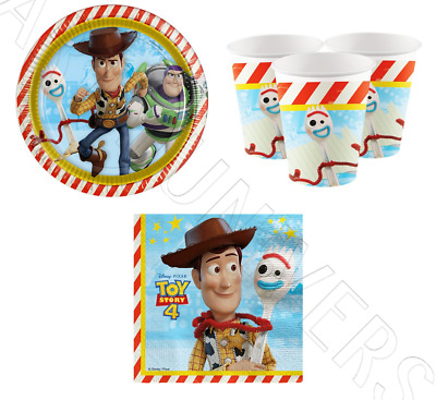 Official Disney Toy Story 4 Childrens Birthday Party Tableware Decoration For 16
