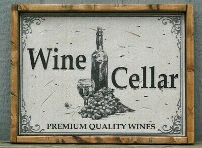 Antique Style Rustic  Wine Cellar Wood Sign 12x16