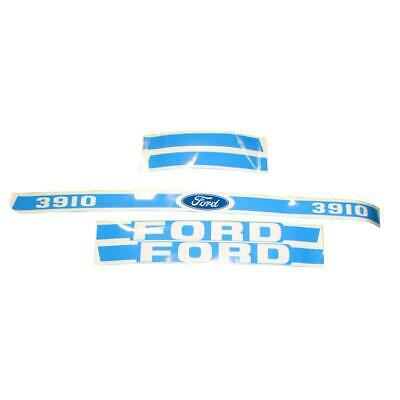 Ford Tractor Light Blue / White Hood Decal Kit 3910 Year 1965 or Later