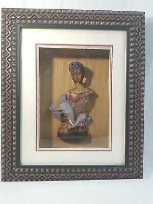 Carved Wooden Figure of an African Woman Elephants in Shadow Box