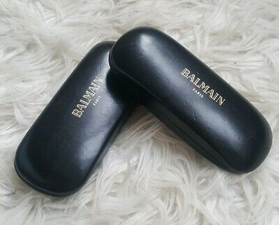 BALMAIN PARIS 2 black hard glasses sunglasses cases logo suede cleaning cloths
