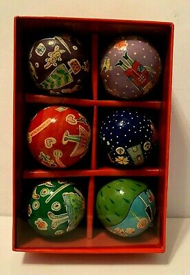Nutcracker Suite Ornament Set of 6 Hand Painted Wooden Ball Ornaments New in Bx