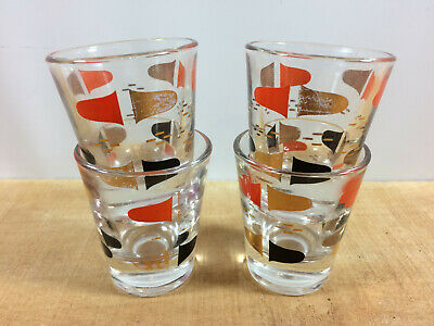 Vintage Set 4 Retro Bullet Shot Glasses, Mid Century Modern Space Age