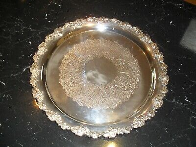 Silver tray with lovely pattern around edge never used bought Catanachs Armidale