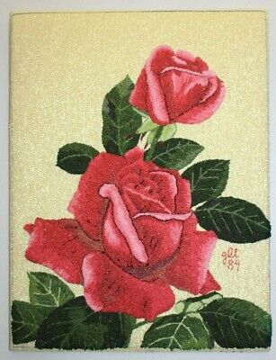 Vtg Bunka by Matsuhato Roses Punch Embroidery Needlepoint Completed Unframed