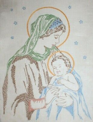 Virgin Mary Baby Jesus Child Religion Hand Embroidered Completed Finished