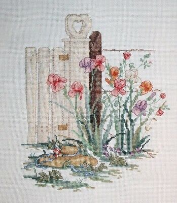 """Cherished Dreams"" Paula Vaughan Cross Stitch Completed Finished Hat Fence Iris"