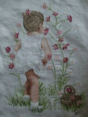 Little Girl Picking Flower Dress Basket Cross Stitch Completed Finished Unframed