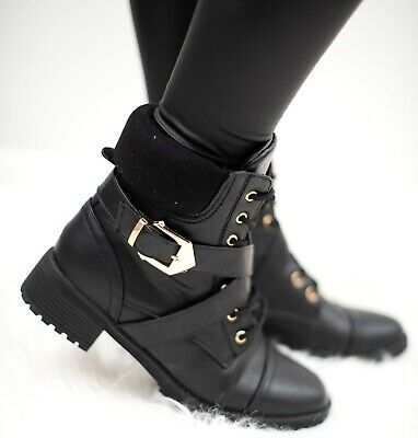 Ladies Womens Army Combat Military Biker Flat Lace Up Zip Work Buckle Shoes Boot