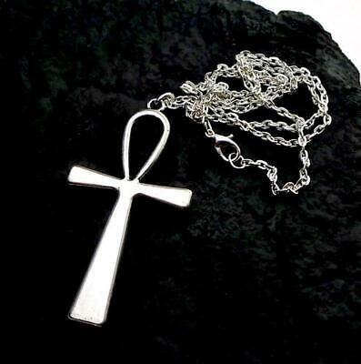 """large EGYPTIAN CROSS ANKH stainless steel pendant necklace Silver 20"""" chain men"""