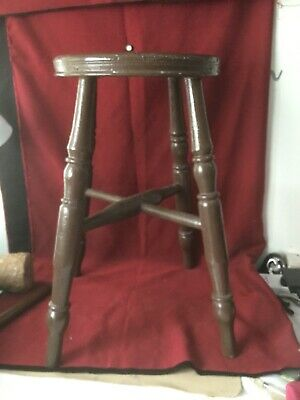 Antique Farmhouse Stool Circa 1950s Old Brown Paint Solid Construction Free P&P