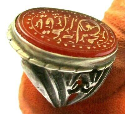Persian Old  Impressive  Seal Silver Ring With  -Blessings,On Carnelian/Agate