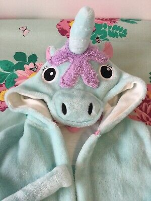 M&S Mint Green Girls Unicorn Dressing Gown Age 6-7